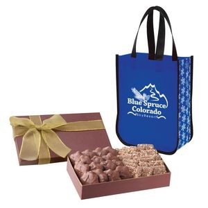 Executive Gift Set With Snow Flurry Laminated Non-Woven Tote Bag