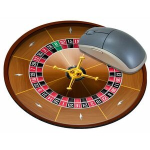 "Roulette Wheel Stock Round Natural Rubber Mouse Pad (8"" Diameter)"